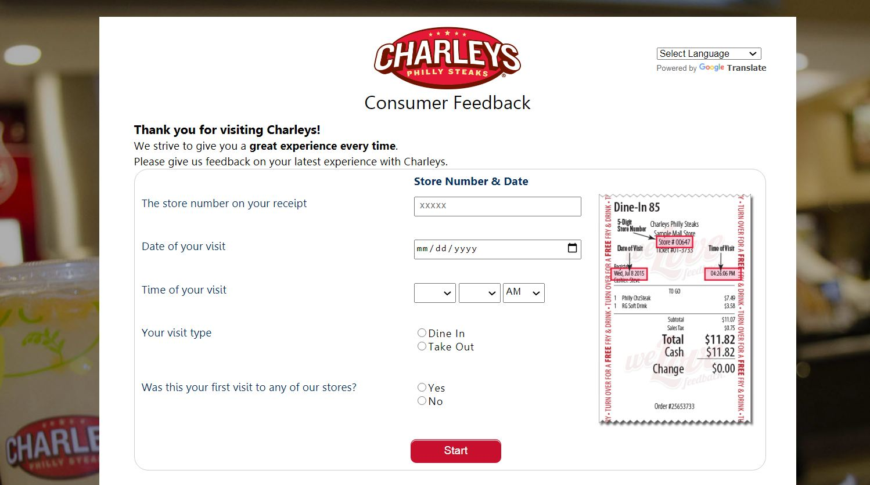TellCharleys - Charleys Survey - Free Fries & Drink